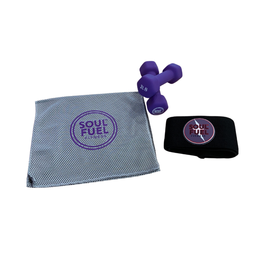 SOUL FUEL pilates pack with glider towel/stretch strap, resistance band and 2lb dumbbells