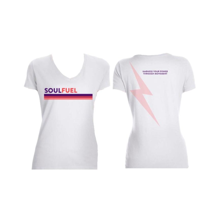 SOUL FUEL retro stripe white t-shirt